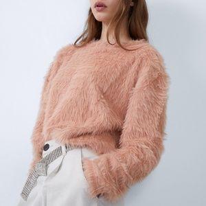 Zara Faux Fur Pink Fuzzy Sweater SZ S